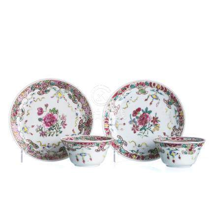Pair of Teacups and saucers in porcelain, Yongzheng