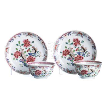 Pair of Teacups and saucers 'pheasants', Yongzheng