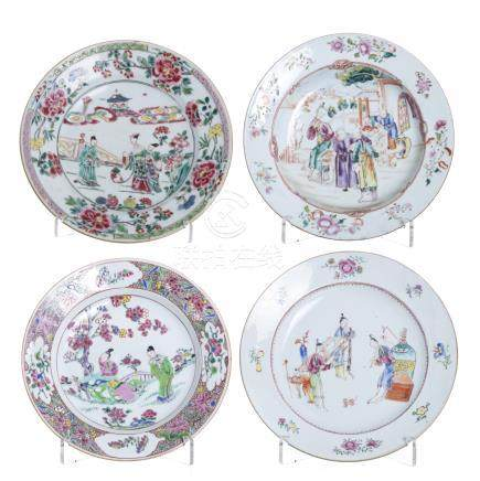 Four plates in Chinese porcelain, 18thC