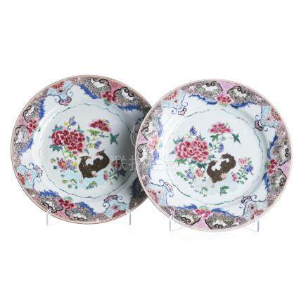 Pair of plates 'ducks' in Chinese porcelain, Yongzheng