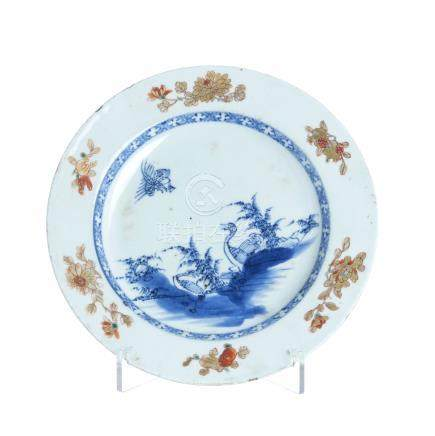 Plate 'birds and flowers' in chinese porcelain, Qianlong