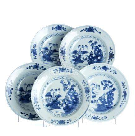Five chinese porcelain plates