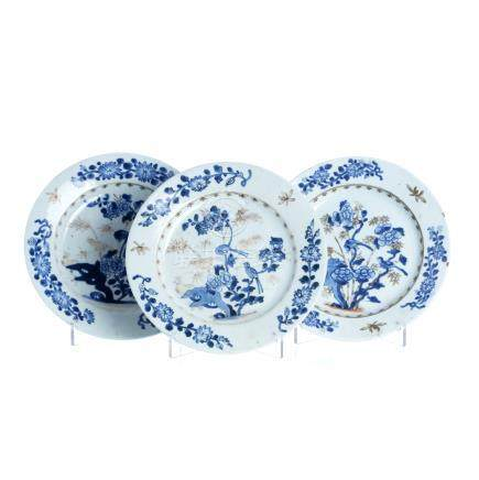 Three plates 'birds and flowers' in chinese porcelain, Qianlong