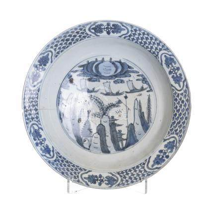 Chinese porcelain blue plate, Ming