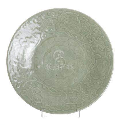 Celadon Chinese porcelain plate, Tongzhi