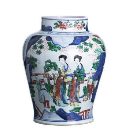 Wucai Pot in Chinese Porcelain, Transitional