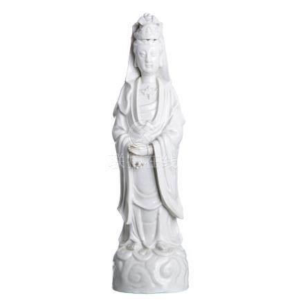 Guanyin in blanc de chine porcelain, Minguo