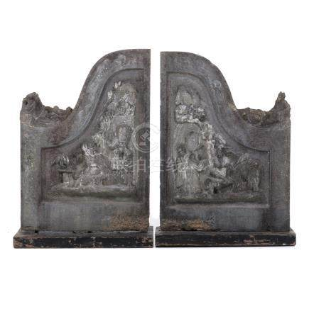 Pair of Chinese temple stones