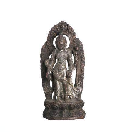 Tibetan silvered wood  Avalokiteshvara Bodhisattva