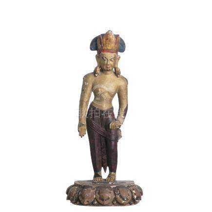 Tibetan gilt wood Bodhisattva, Phagpa Lokeshvara