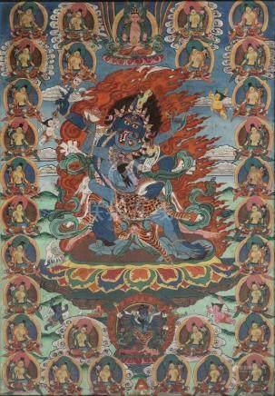 Buddhist Chakrasamvara-Vajravarahi Thangka