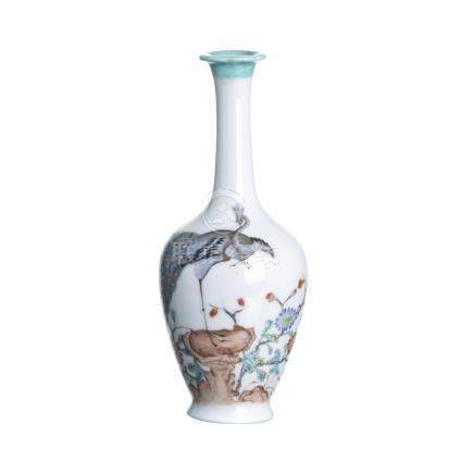 'Peacock' vase in Chinese porcelain, Minguo