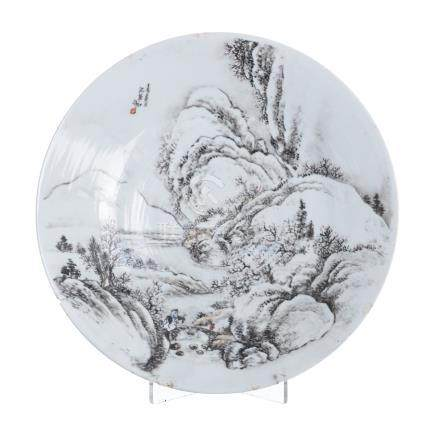 Large plate in chinese porcelain, Minguo