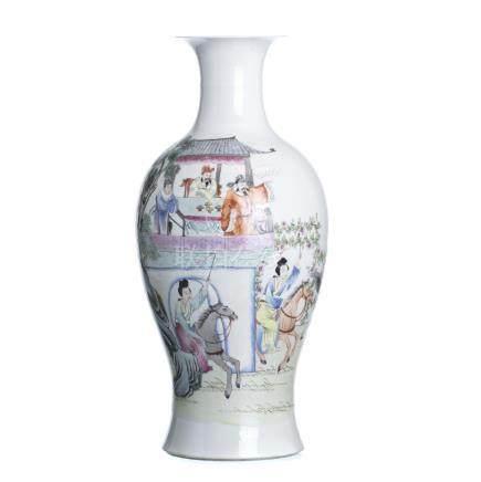 Vase 'figures on horseback' in Chinese porcelain, Guangxu