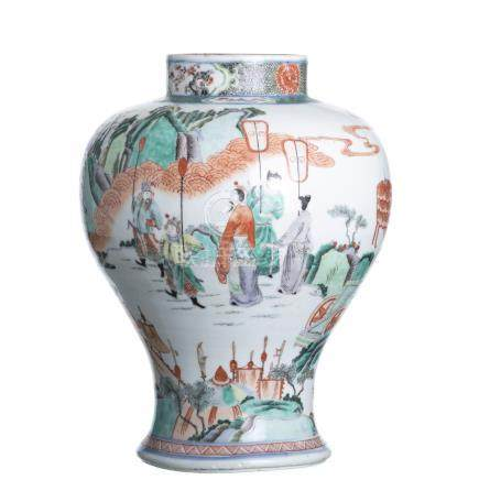 Vase warriors, Famille Verte, Guangxu
