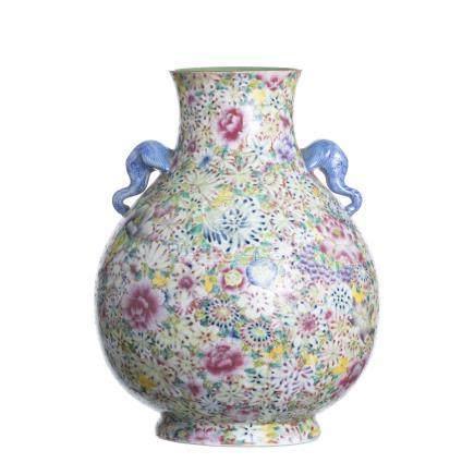 Chinese Porcelain Millefiori Hu Vase, Minguo