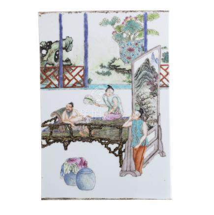 Plaque in Chinese porcelain, Minguo