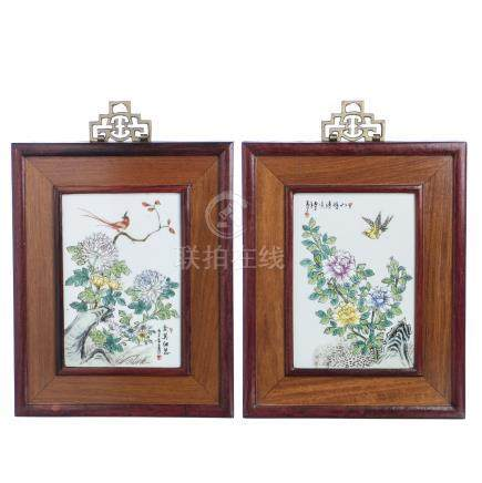 Pair of floral plaques in chinese porcelain, Republic