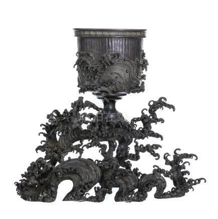 Japan bronze table centerpiece