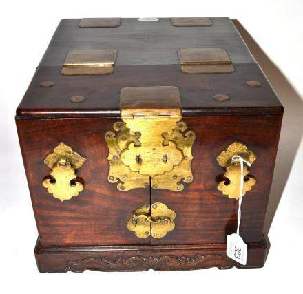 A Chinese Brass Mounted Hardwood Travelling Dressing Chest, of rectangular form, the hinged