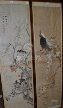 Chinese Scroll Paintings (19th century), a white Asiatic pheasant and three songbirds,