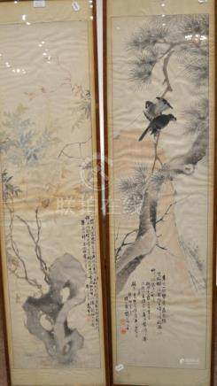 Chinese Scroll Paintings (19th century), crows, pine tree and a butterfly in rockwork,