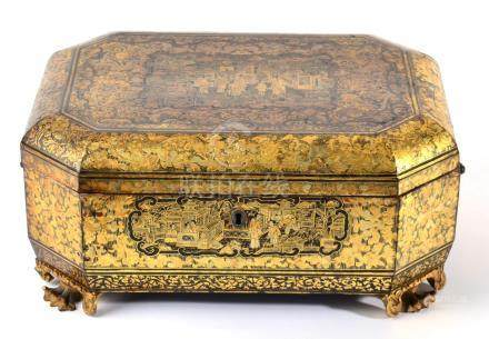 A Chinese Export Lacquer Tea Caddy, early 19th century, of canted rectangular form, typically