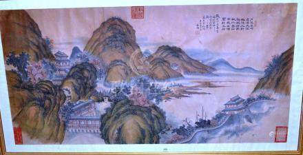 Chinese School (19th century): Mountainous River Landscape, with section of the Great Wall and other