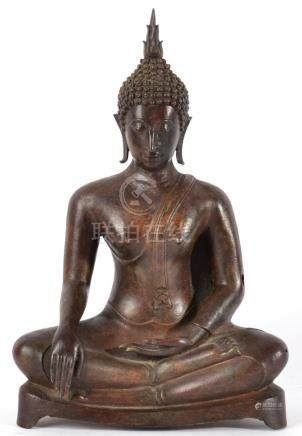 A Bronze Figure of Buddha, probably Burmese, 18th/19th century, seated in traditional pose on a