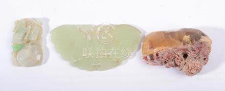 A Chinese Jade Plaque, as a butterfly, 10cm wide; A Similar Plaque, as a rabbit and fruit, 5.5cm;