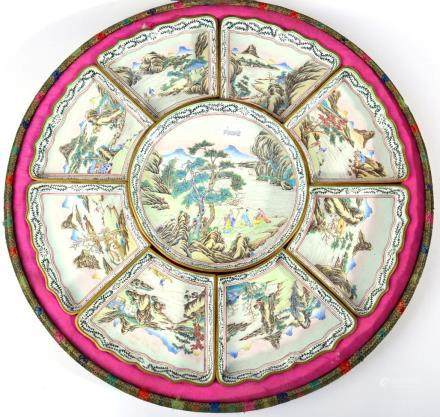 A Canton Enamel Supper Set, early 20th century, painted in famille rose enamels with figures in