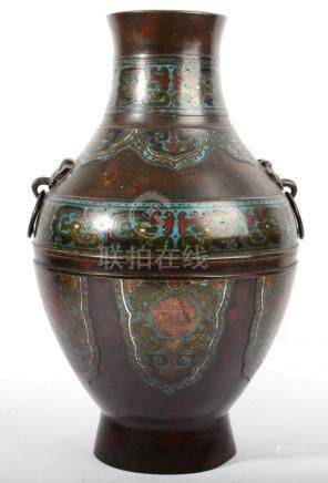 A Chinese Bronze and Enamel Vase, late 19th century, of baluster form with ring handles, decorated