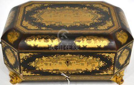 A Chinese Export Lacquer Workbox and Cover, 19th century, of canted rectangular form, gilt with