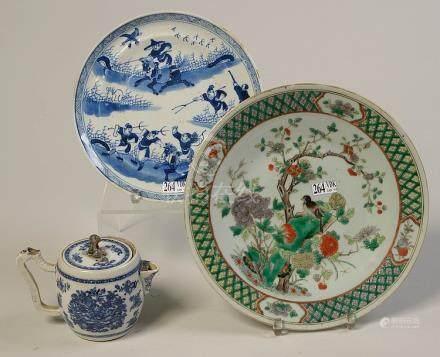 Une assiette et une théière en porcelaine bleue et