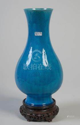 Grand vase en porcelaine turquoise de Chine au déc