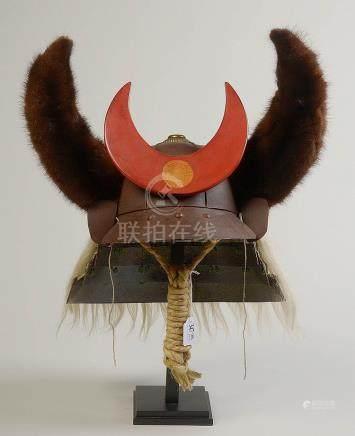 Kabuto, casque de guerrier samouraï en fer laqué,