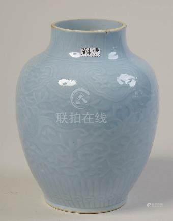 Vase en porcelaine bleue clair de lune de Chine au