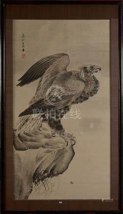 KISHI RENZAN (1805 - 1859) - Grand kakemono décoré