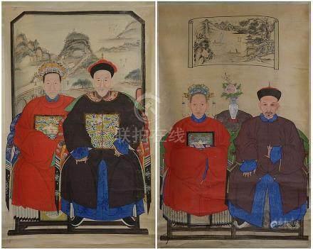 """Deux kakemonos représentant des """"Portraits de coup"""