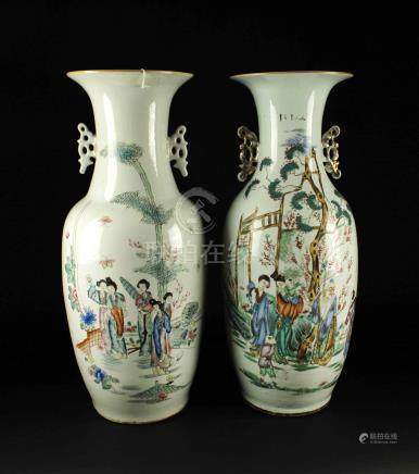 Two of Famille Rose Story Big Vase Republican Period