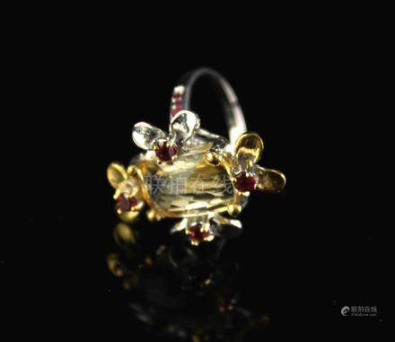 Ring with Citrine and Garnets
