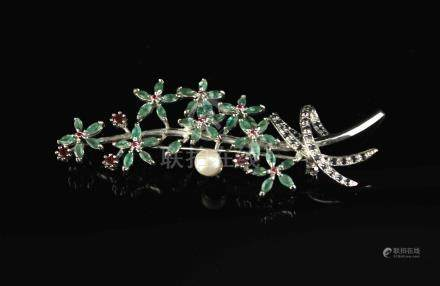 Brooch with Freshwater Pearl Sapphires Garnets and Emeralds