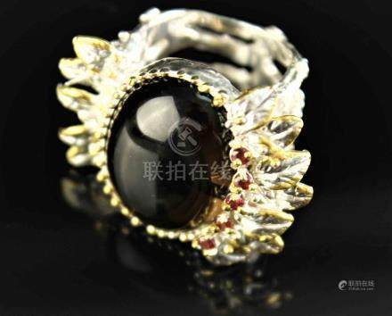 Ring with Smokey Quartz and Garnets