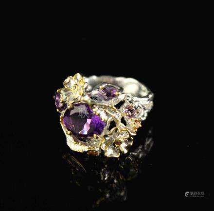 Ring with Amethyst and Citrine