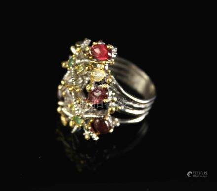 Ring with Toumaline and Emeralds
