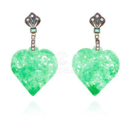 A PAIR OF CHINESE JADEITE JADE, EMERALD AND DIAMOND EARRINGS each jewelled with emeralds and
