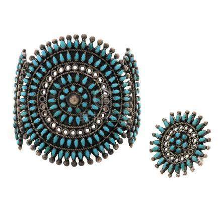 Quincy Panteah Native American Zuni Turquoise, Sterling