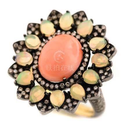 *Coral, Opal, Diamond, Blackened Sterling Silver, 18k