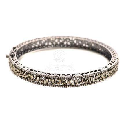 Diamond, Blackened Sterling Silver Bracelet.