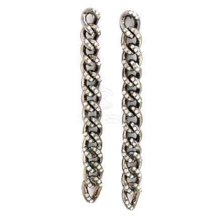 Pair of Diamond, Blackened Sterling Silver Earrings.